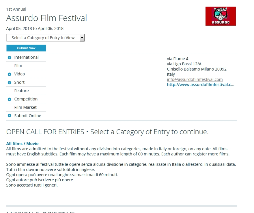 Assurdo Film Festival disponibile con Withoutabox / Assurdo Film Festival available on Withoutabox
